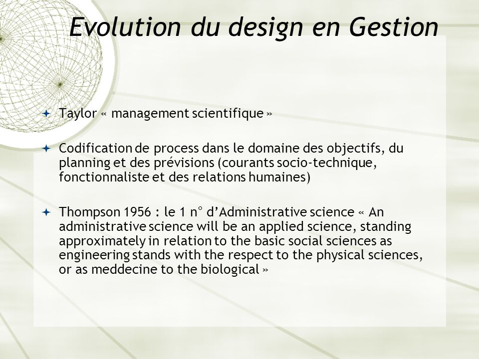 Evolution du design en Gestion