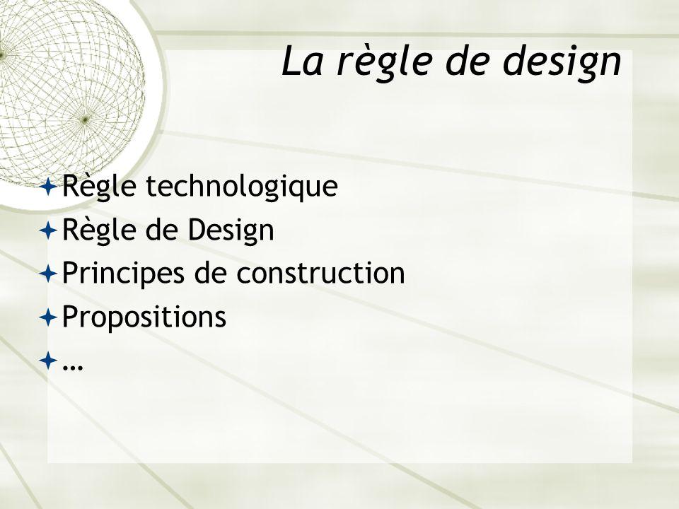 La règle de design Règle technologique Règle de Design