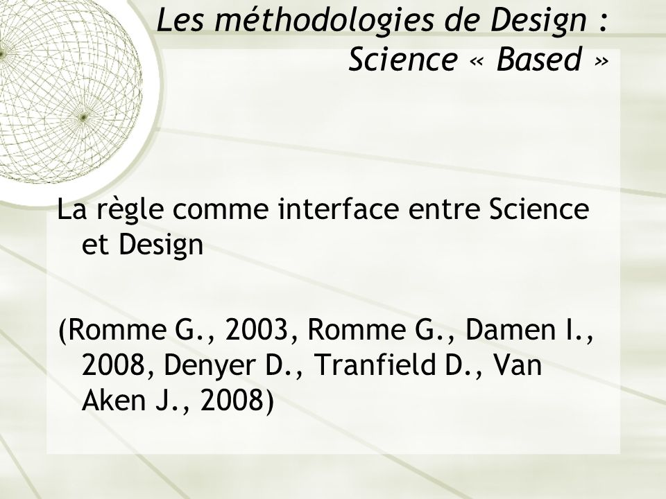 Les méthodologies de Design : Science « Based »
