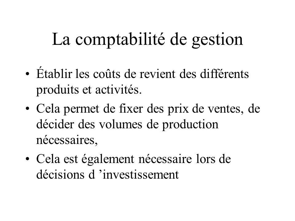 La comptabilité de gestion