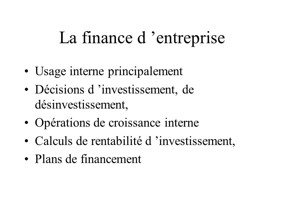 La finance d 'entreprise