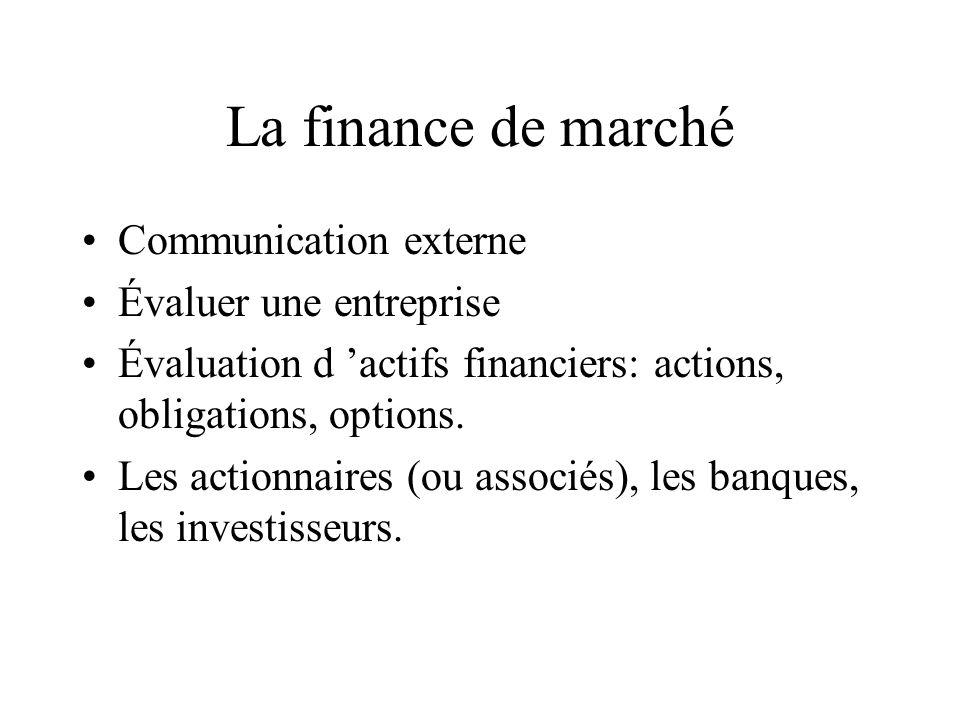 La finance de marché Communication externe Évaluer une entreprise