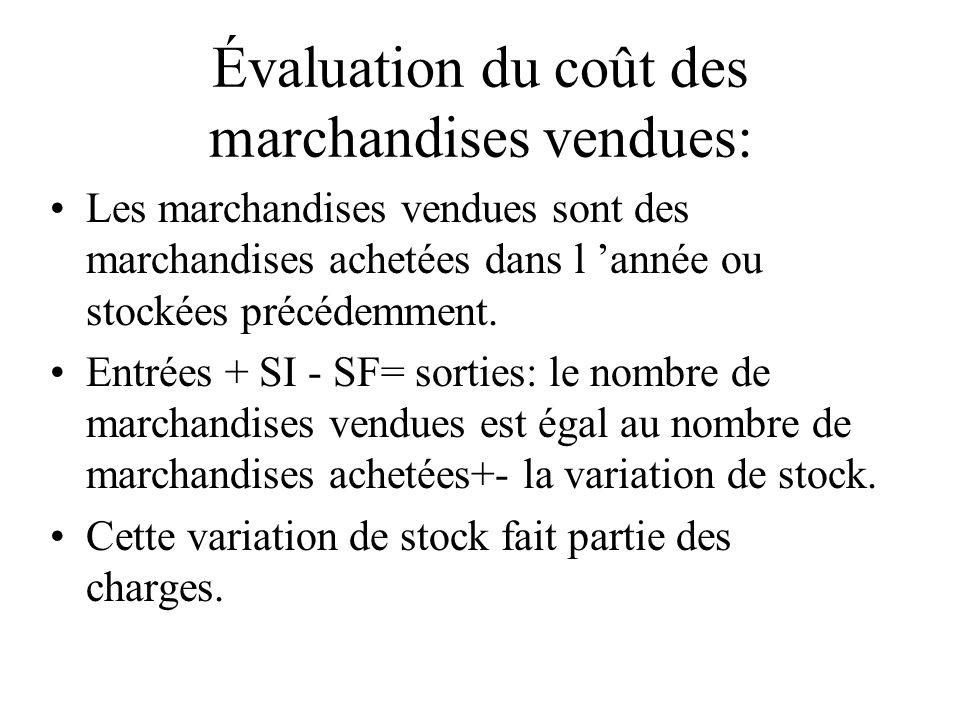 Évaluation du coût des marchandises vendues: