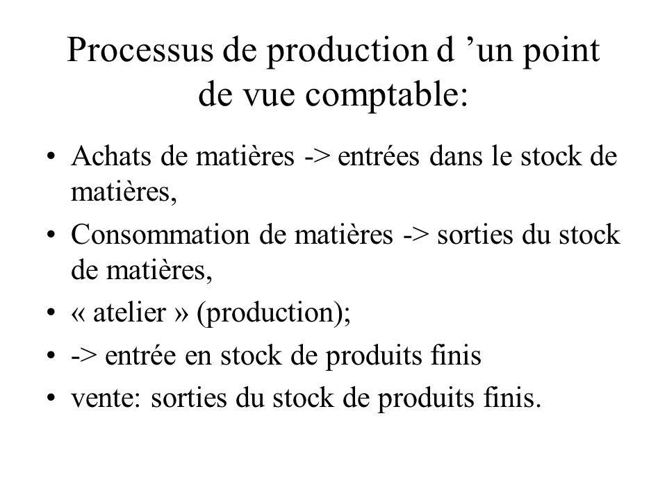 Processus de production d 'un point de vue comptable:
