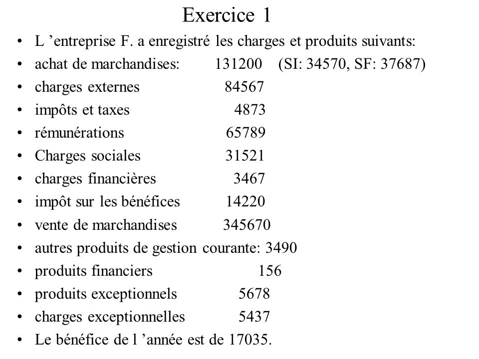 Exercice 1L 'entreprise F. a enregistré les charges et produits suivants: achat de marchandises: 131200 (SI: 34570, SF: 37687)