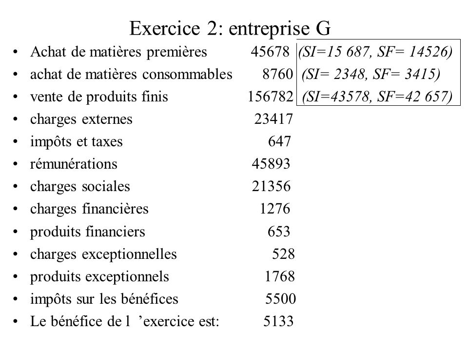 Exercice 2: entreprise G