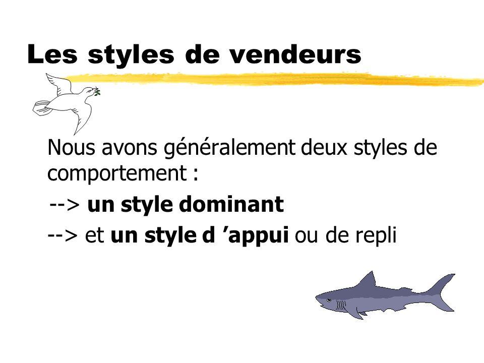 Les styles de vendeursNous avons généralement deux styles de comportement : --> un style dominant.