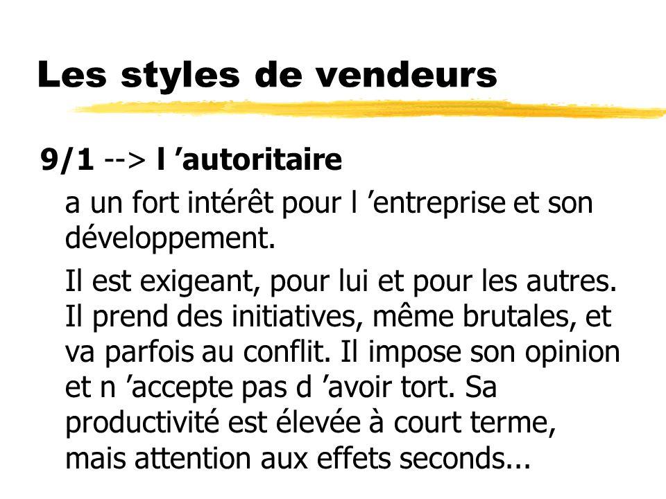 Les styles de vendeurs 9/1 --> l 'autoritaire