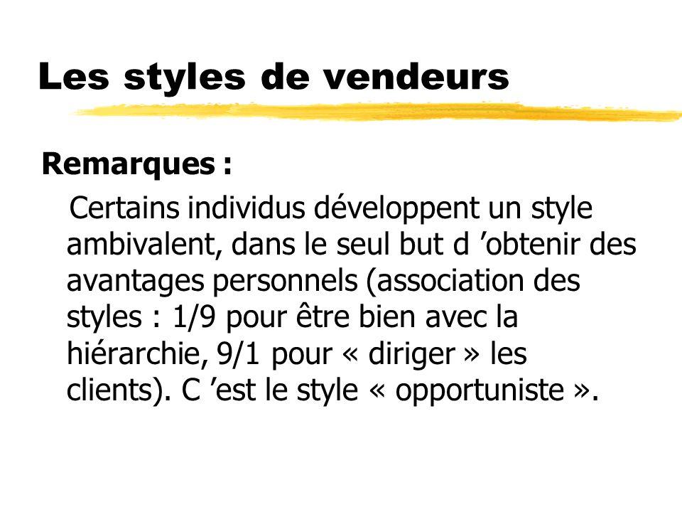 Les styles de vendeurs Remarques :