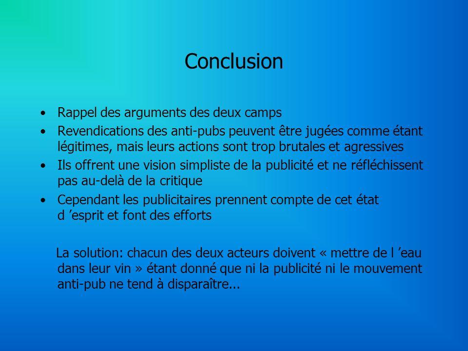 Conclusion Rappel des arguments des deux camps