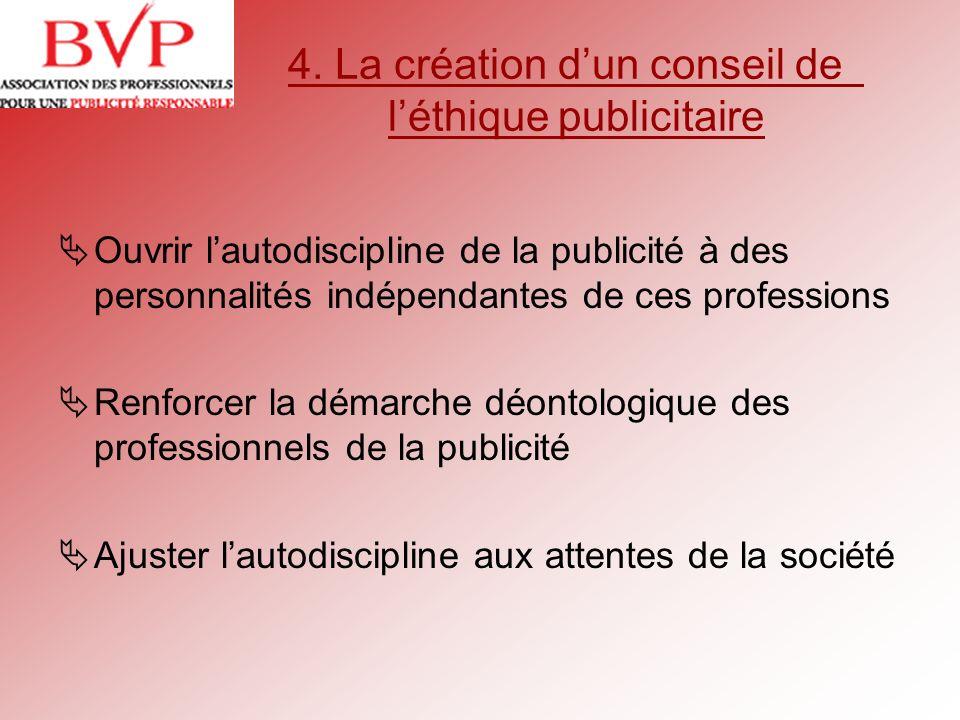 4. La création d'un conseil de l'éthique publicitaire