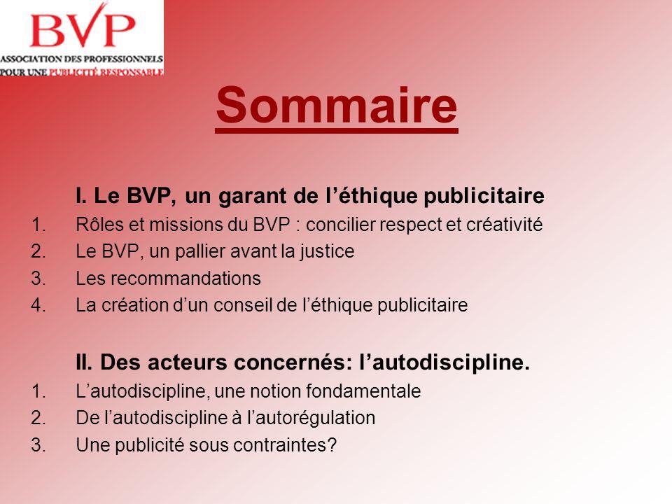 Sommaire I. Le BVP, un garant de l'éthique publicitaire
