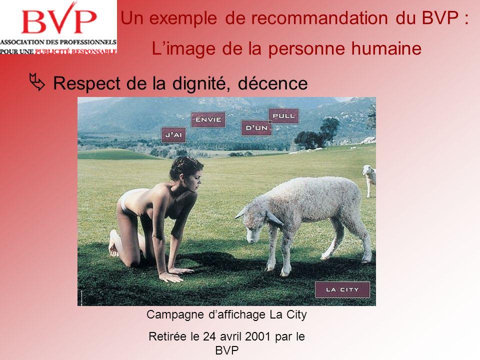 Un exemple de recommandation du BVP : L'image de la personne humaine