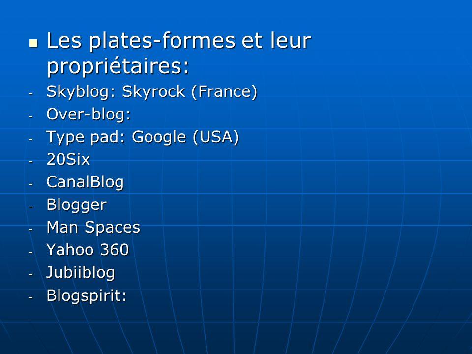 Les plates-formes et leur propriétaires: