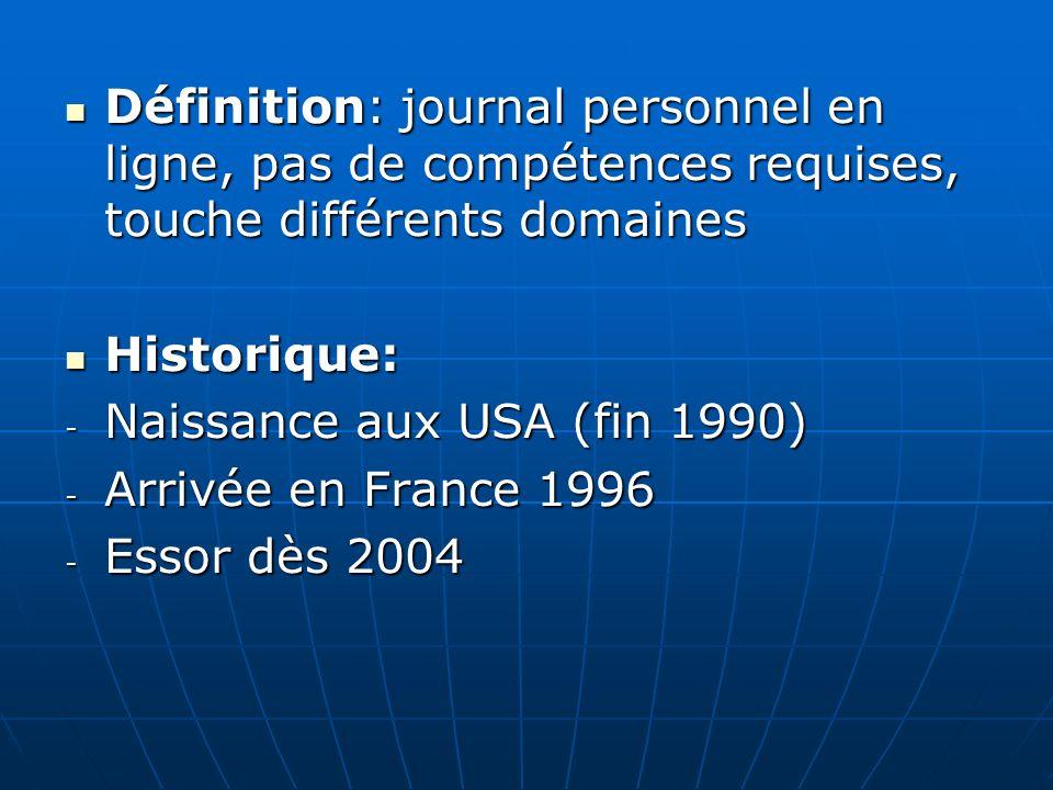 Définition: journal personnel en ligne, pas de compétences requises, touche différents domaines