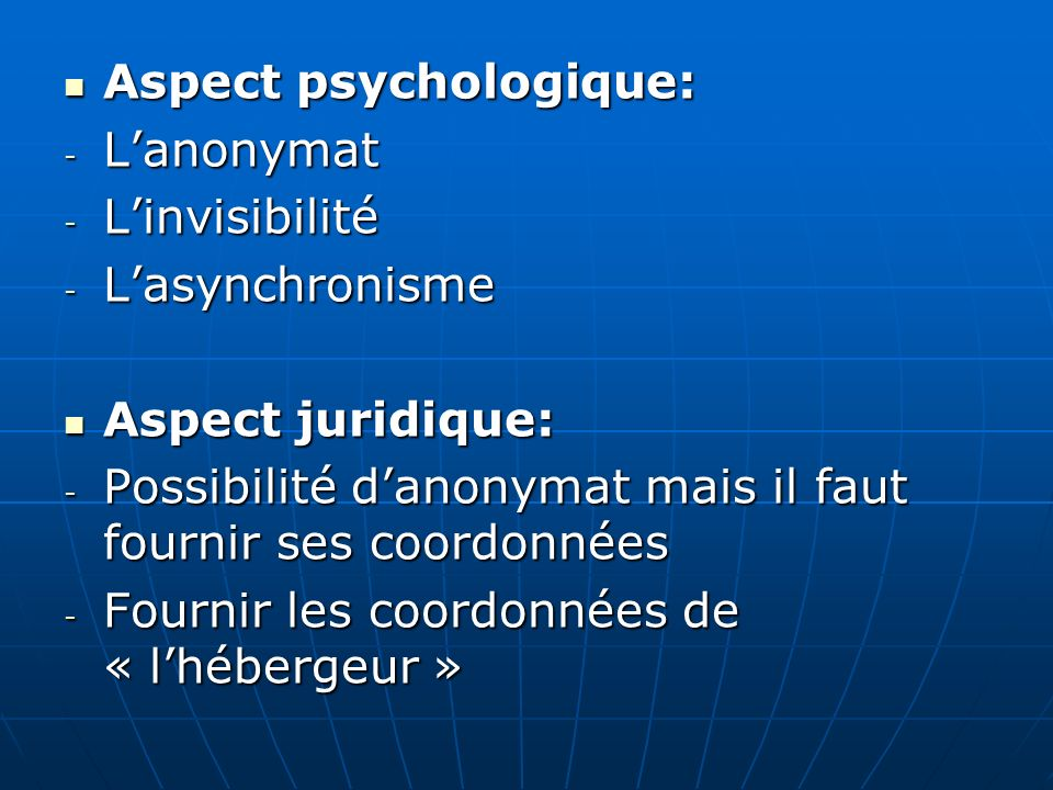 Aspect psychologique: