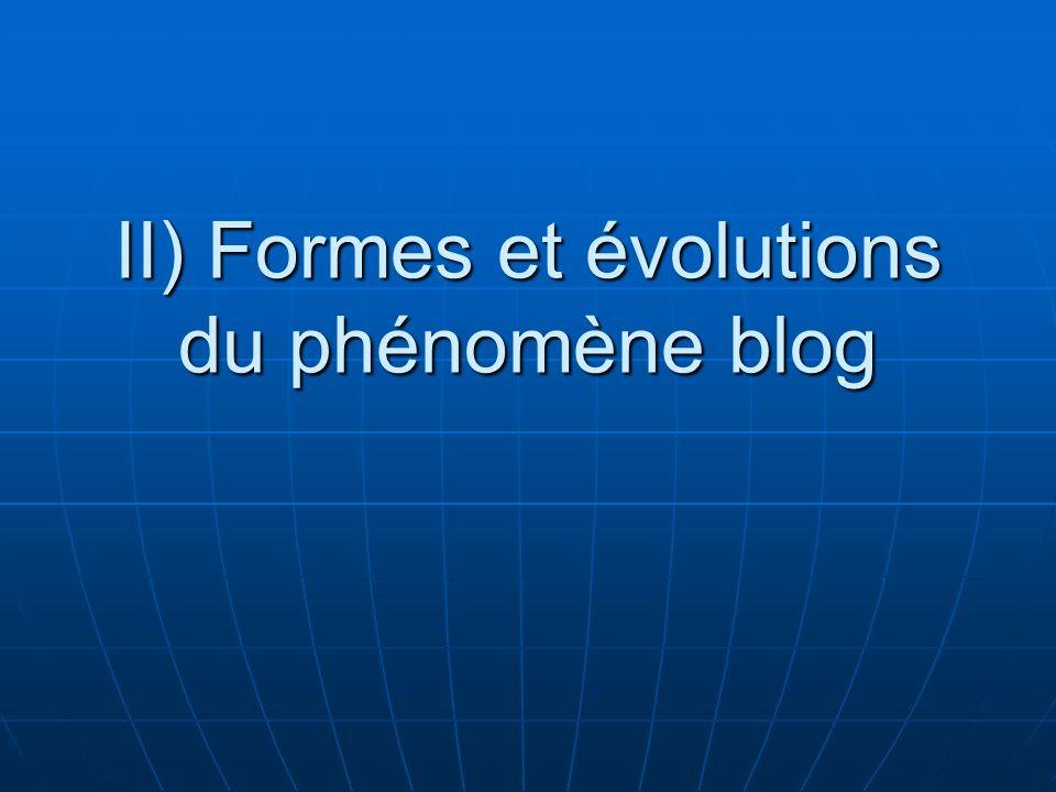 II) Formes et évolutions du phénomène blog