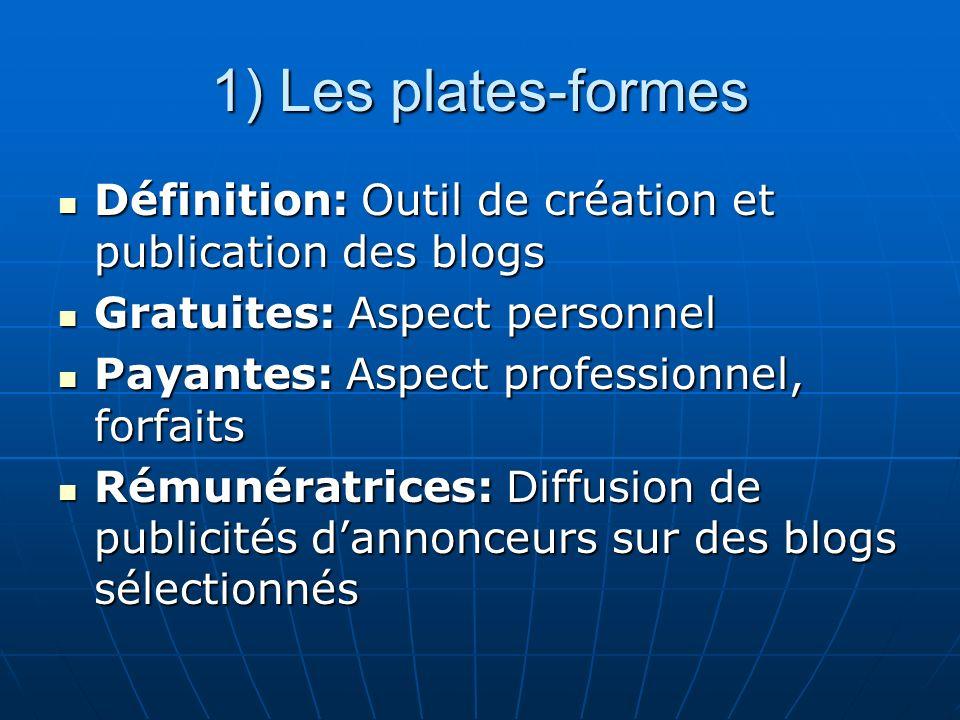 1) Les plates-formes Définition: Outil de création et publication des blogs. Gratuites: Aspect personnel.