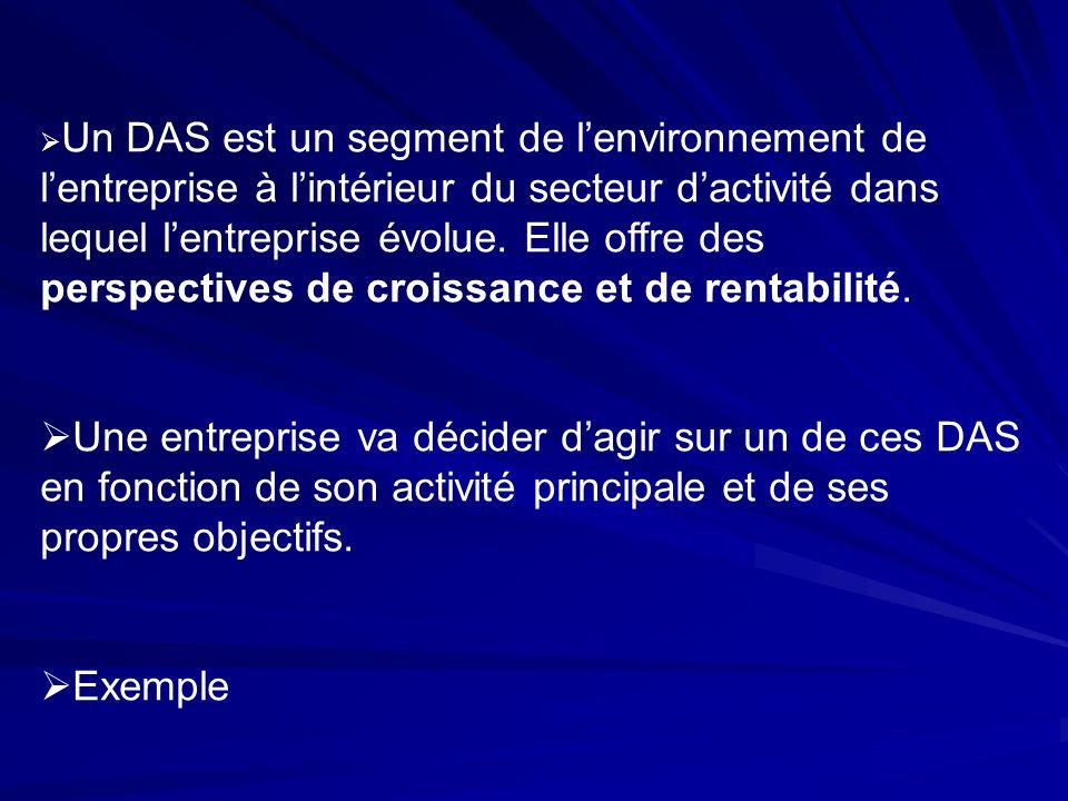 Un DAS est un segment de l'environnement de l'entreprise à l'intérieur du secteur d'activité dans lequel l'entreprise évolue. Elle offre des perspectives de croissance et de rentabilité.