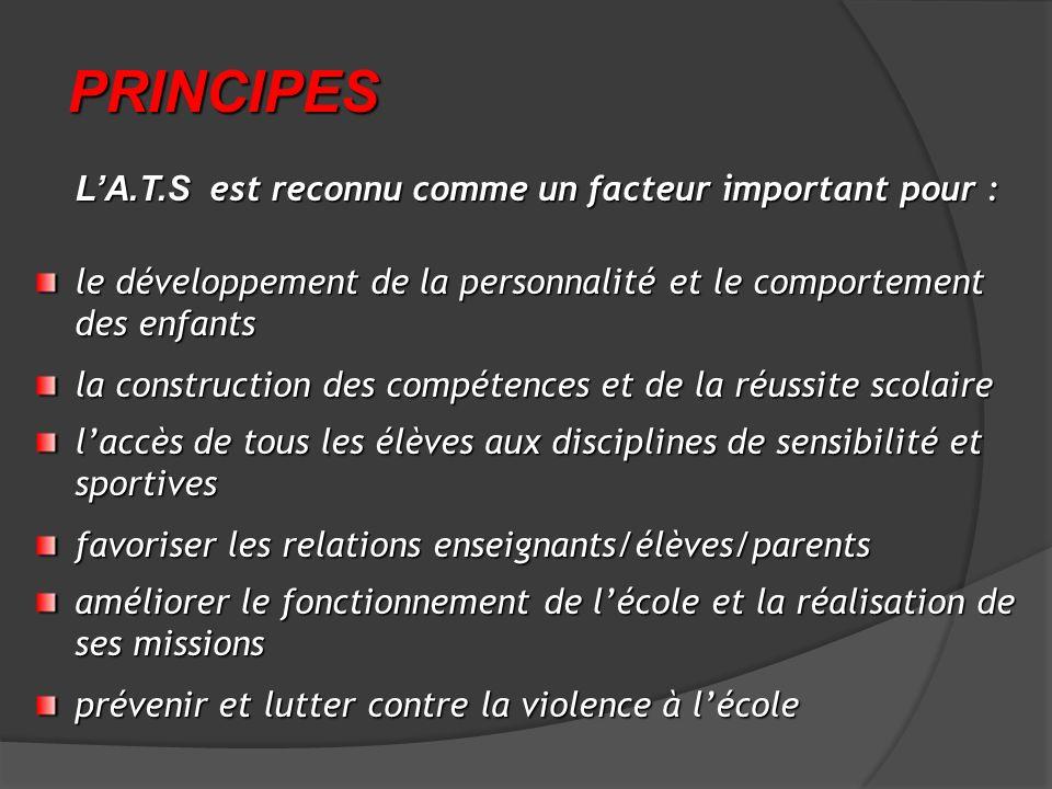 PRINCIPES L'A.T.S est reconnu comme un facteur important pour :