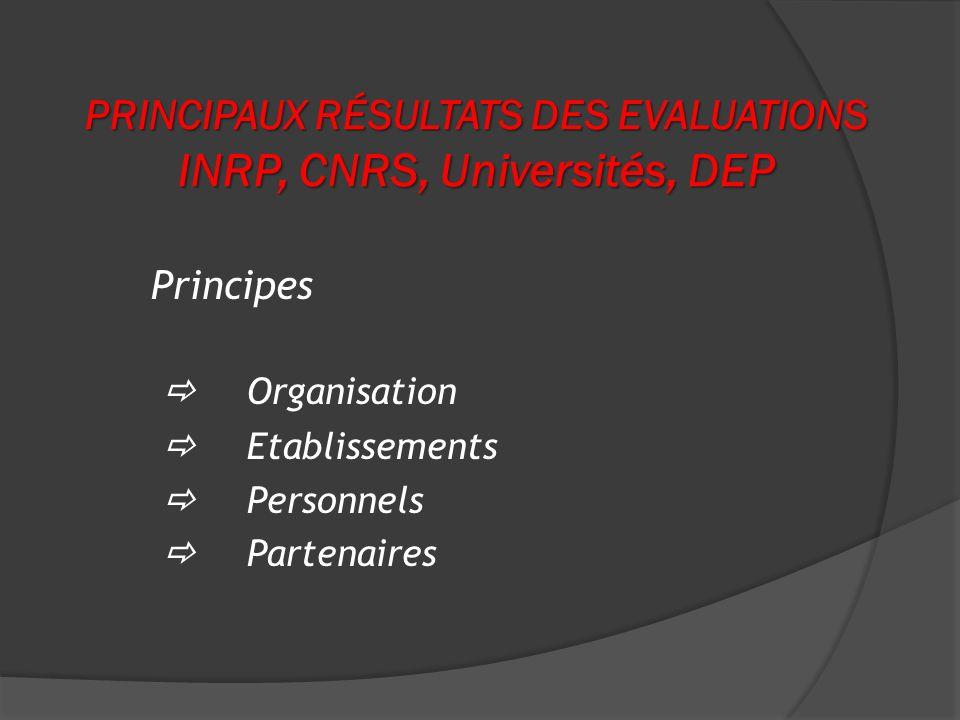 PRINCIPAUX RÉSULTATS DES EVALUATIONS INRP, CNRS, Universités, DEP