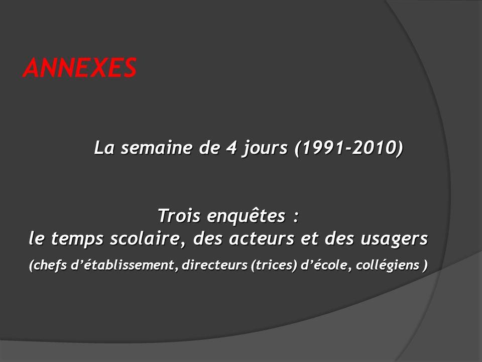 ANNEXES La semaine de 4 jours (1991-2010)