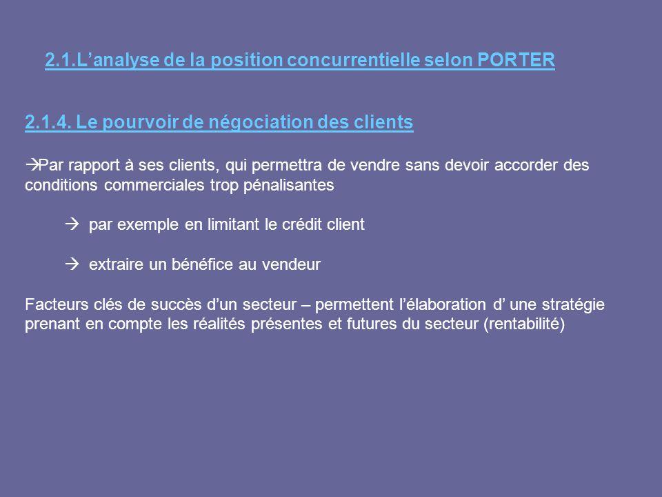 2.1.4. Le pourvoir de négociation des clients