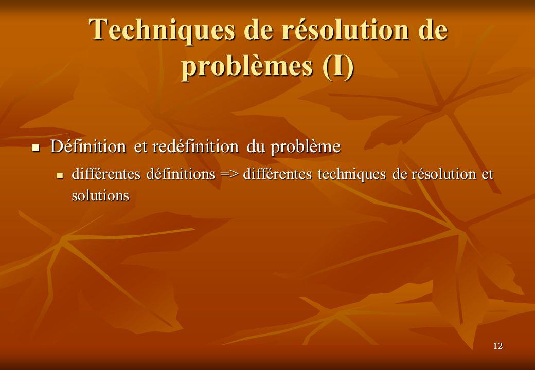 Techniques de résolution de problèmes (I)