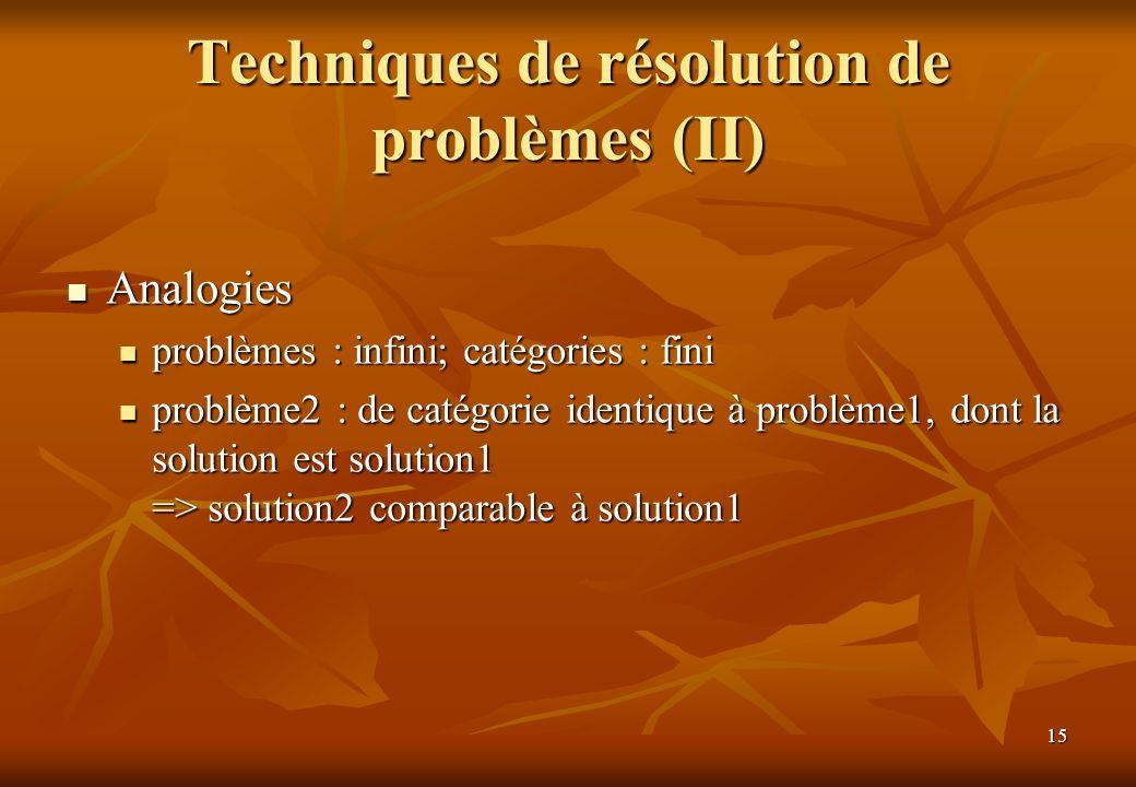 Techniques de résolution de problèmes (II)
