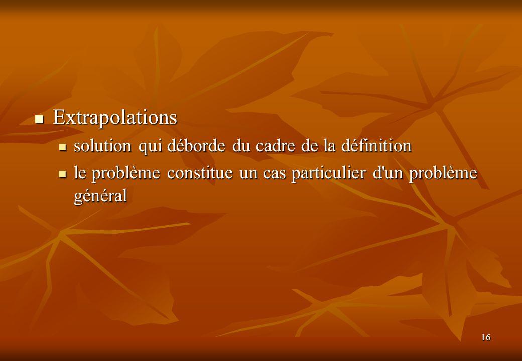 Extrapolations solution qui déborde du cadre de la définition