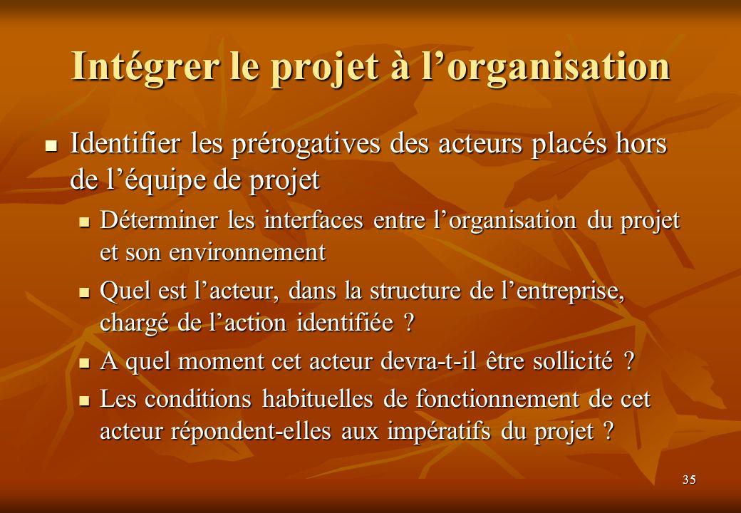 Intégrer le projet à l'organisation
