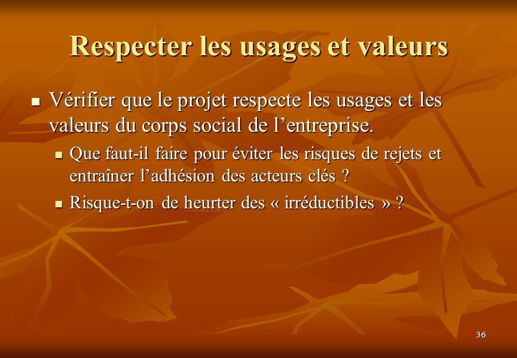 Respecter les usages et valeurs
