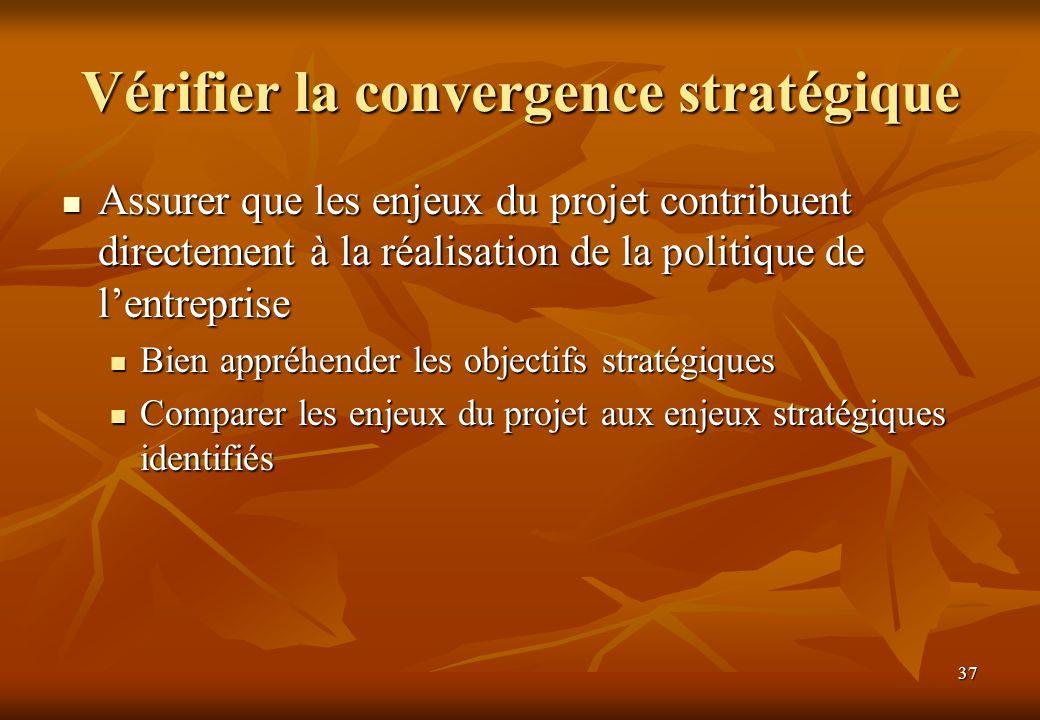 Vérifier la convergence stratégique