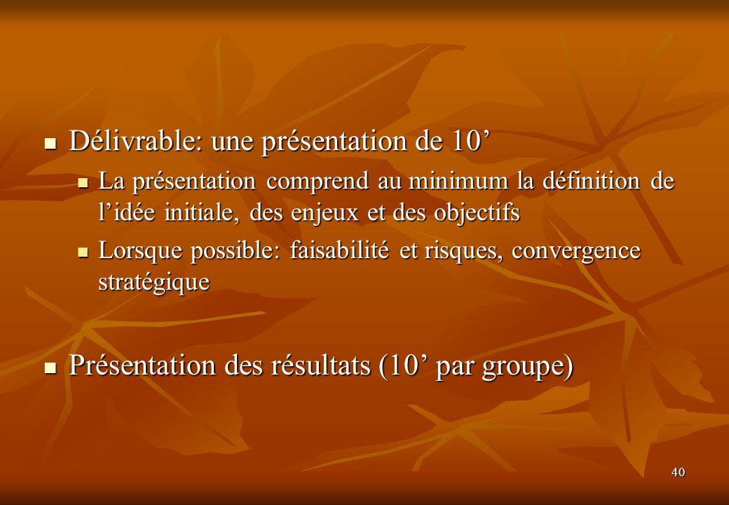 Délivrable: une présentation de 10'