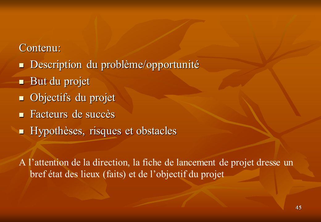 Description du problème/opportunité But du projet Objectifs du projet