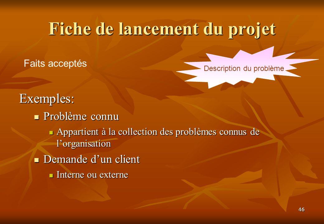 Fiche de lancement du projet
