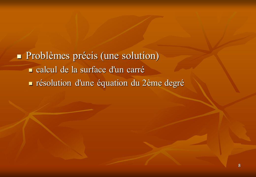 Problèmes précis (une solution)