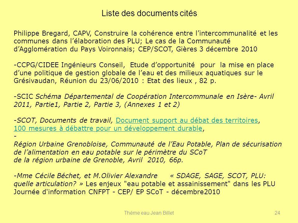 Liste des documents cités