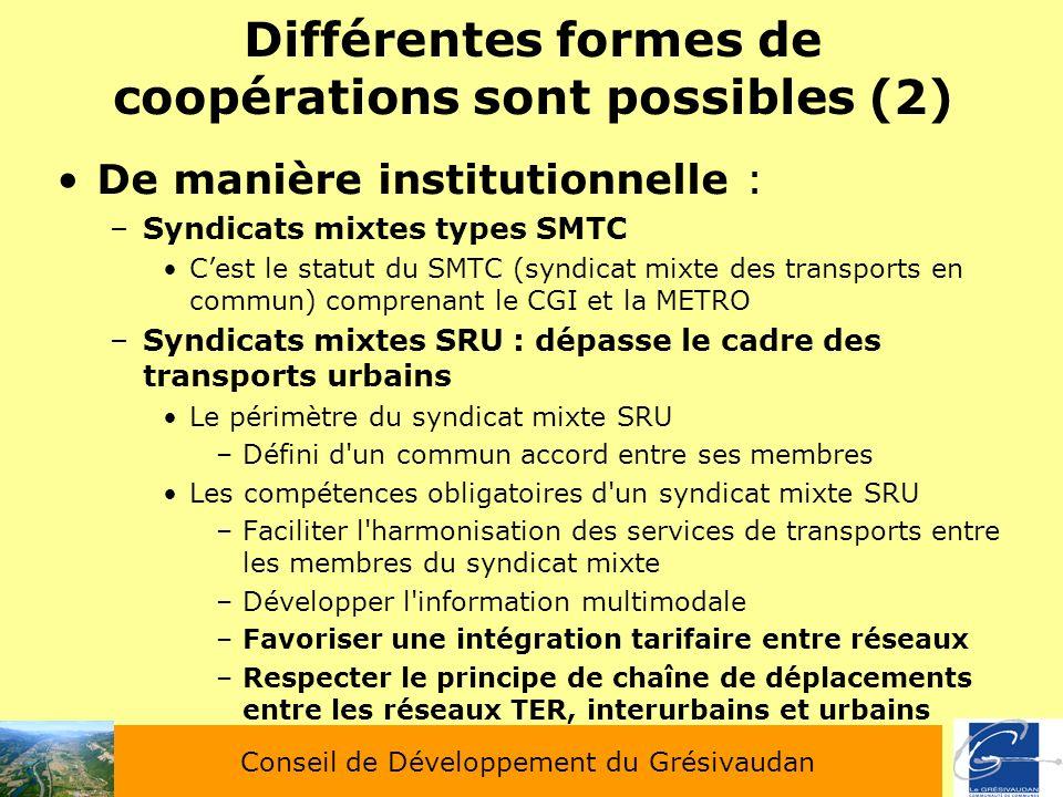 Différentes formes de coopérations sont possibles (2)