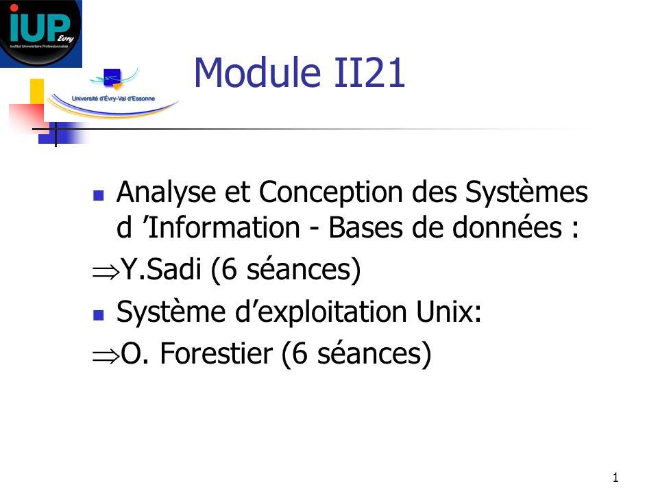Module II21 Analyse et Conception des Systèmes d 'Information - Bases de données : Y.Sadi (6 séances)