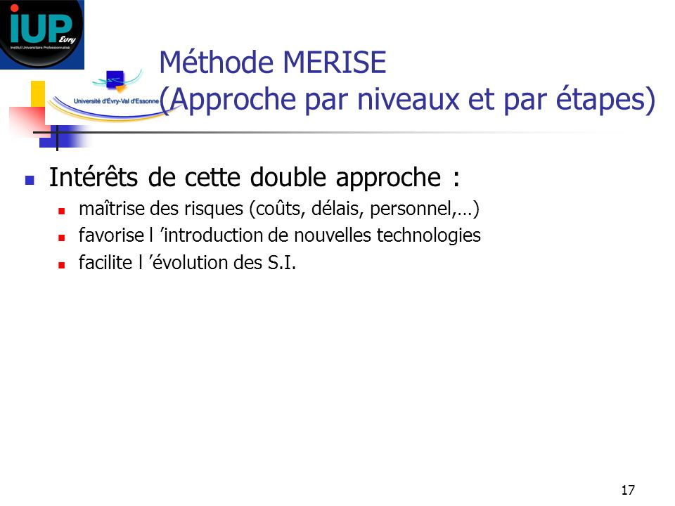 Méthode MERISE (Approche par niveaux et par étapes)