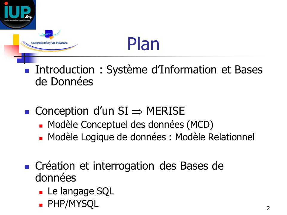 Plan Introduction : Système d'Information et Bases de Données