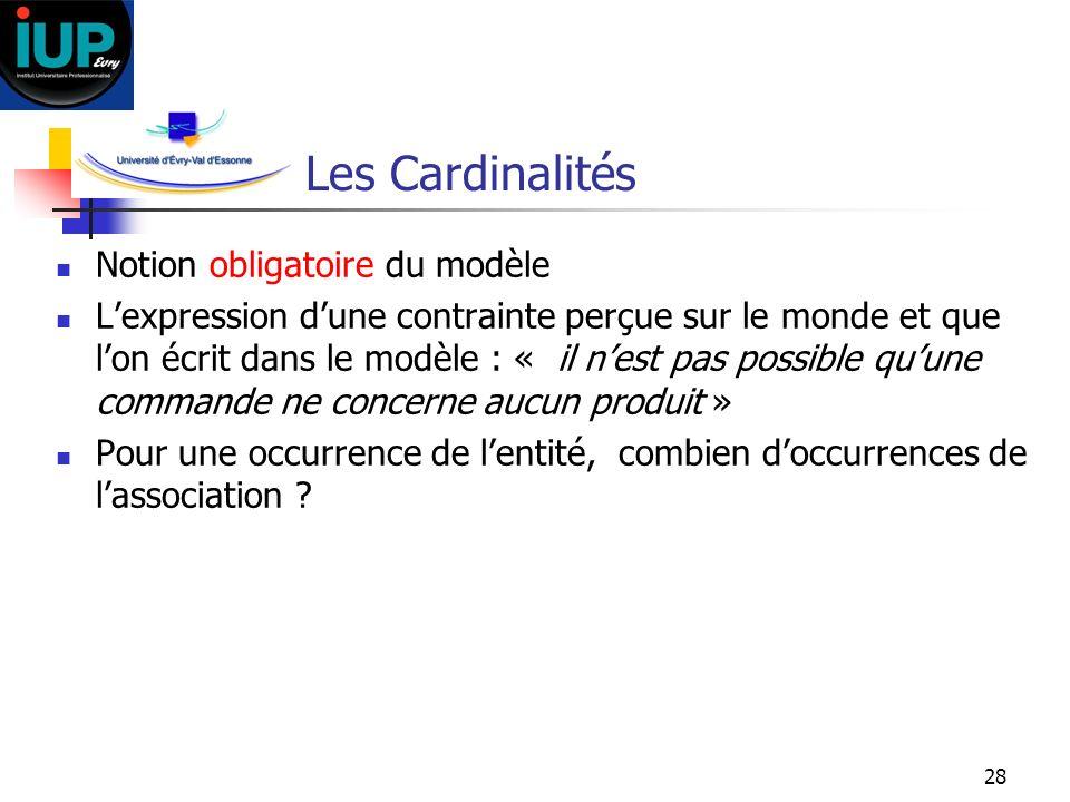 Les Cardinalités Notion obligatoire du modèle