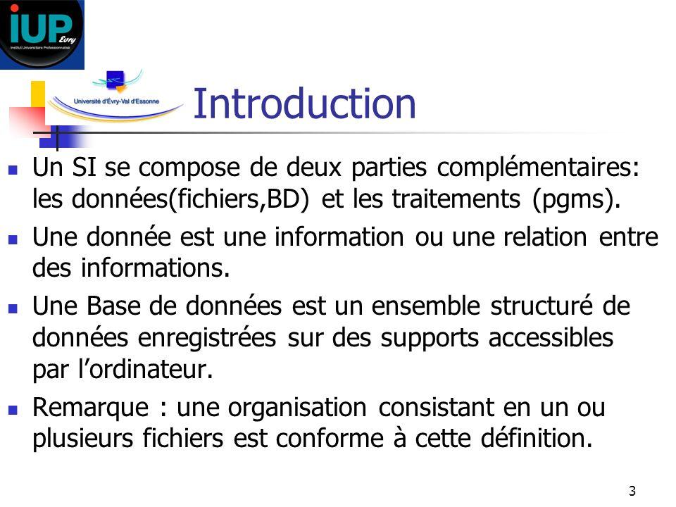 Introduction Un SI se compose de deux parties complémentaires: les données(fichiers,BD) et les traitements (pgms).