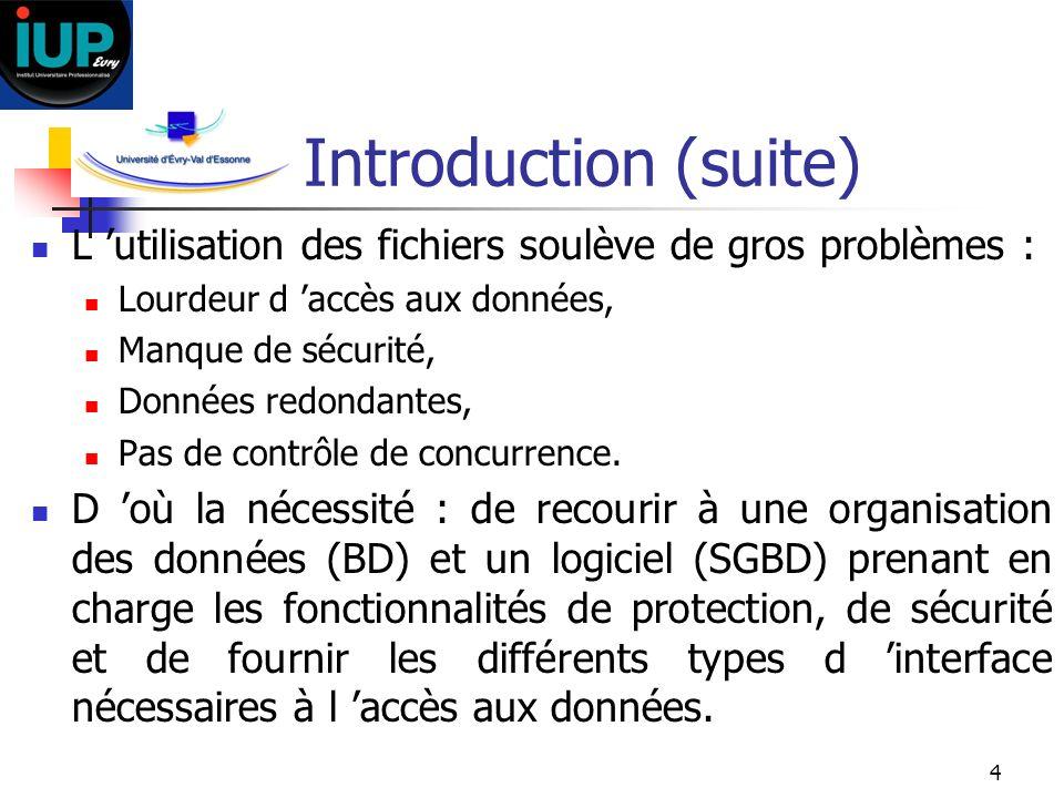 Introduction (suite)L 'utilisation des fichiers soulève de gros problèmes : Lourdeur d 'accès aux données,