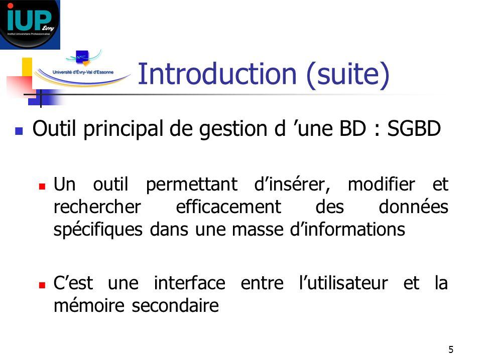 Introduction (suite) Outil principal de gestion d 'une BD : SGBD