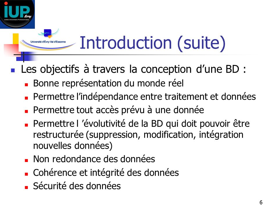 Introduction (suite) Les objectifs à travers la conception d'une BD :
