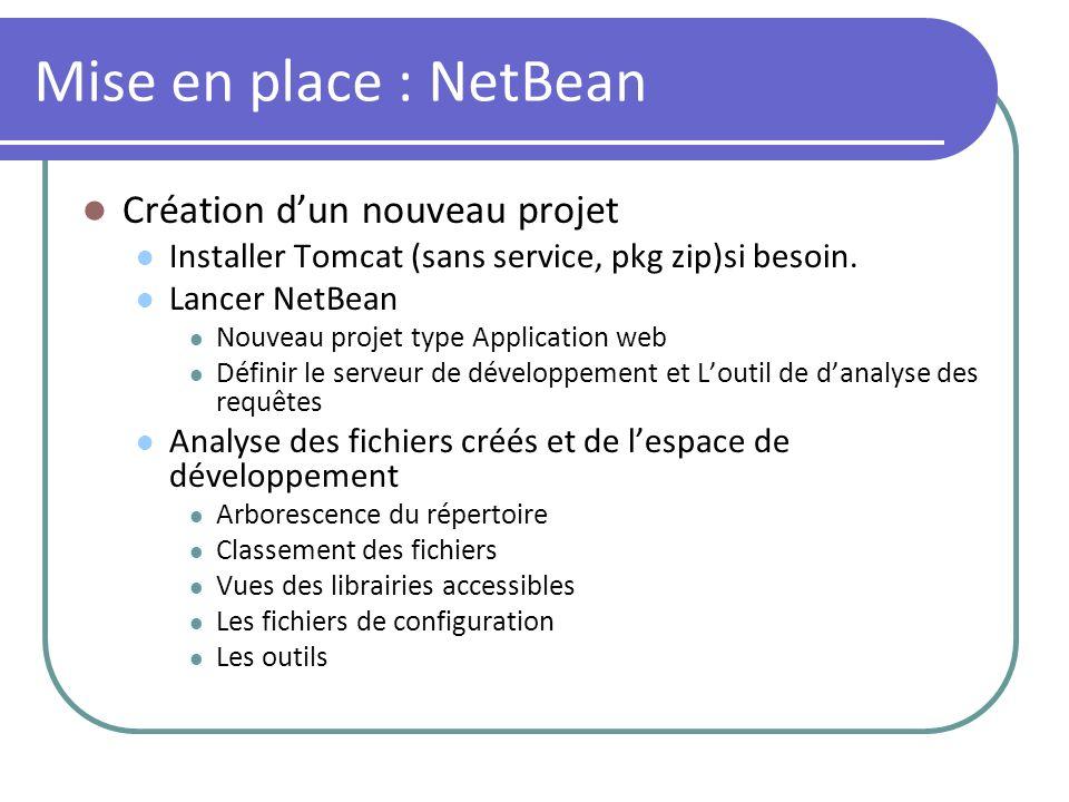 Mise en place : NetBean Création d'un nouveau projet