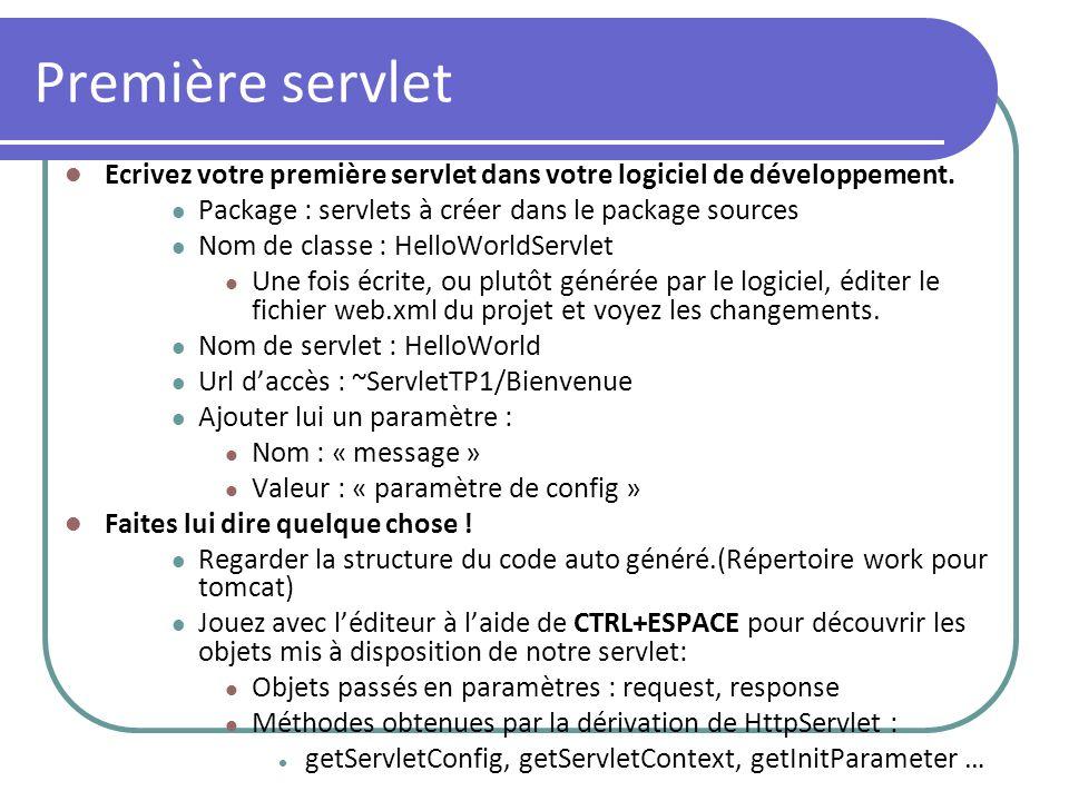 Première servlet Ecrivez votre première servlet dans votre logiciel de développement. Package : servlets à créer dans le package sources.