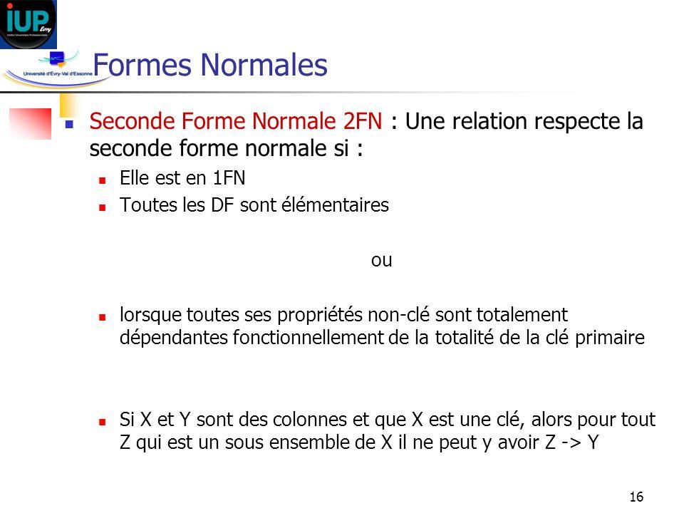 Formes Normales Seconde Forme Normale 2FN : Une relation respecte la seconde forme normale si : Elle est en 1FN.